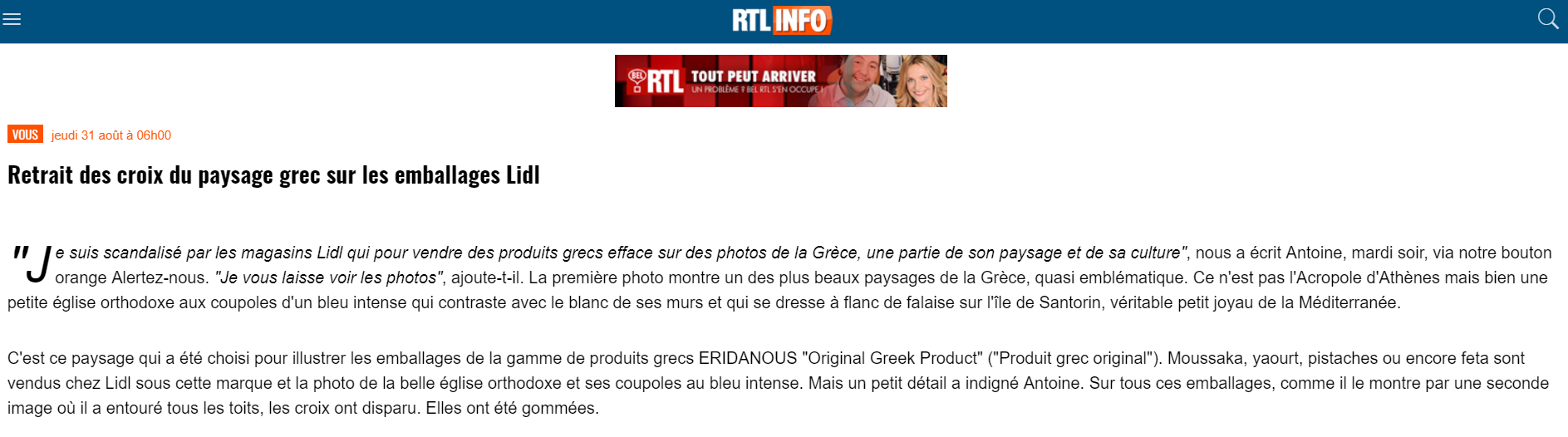 article RTL sur le badbuzz Lidl