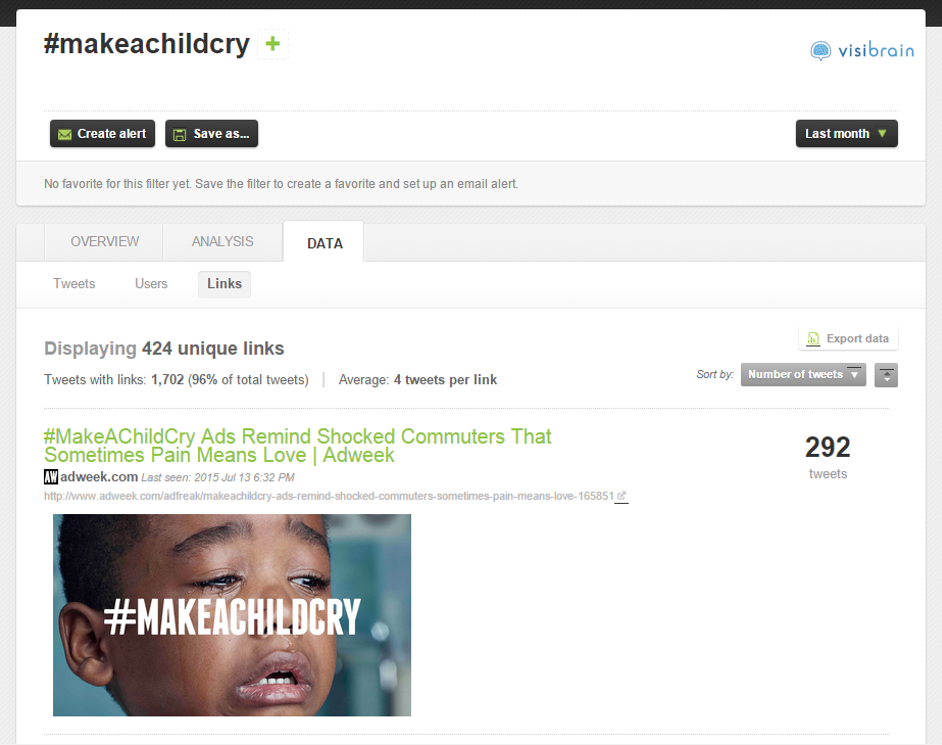 Lien de presse le plus retweeté sur #makeachildcry