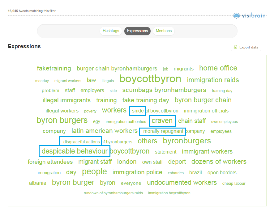 The top expressions used in tweets about #boycottbyron