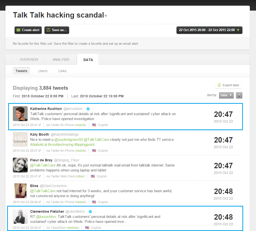 The first users to tweet about the Talk Talk hacking scandal